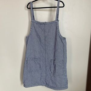 Roxy navy/white striped overall dress- Large